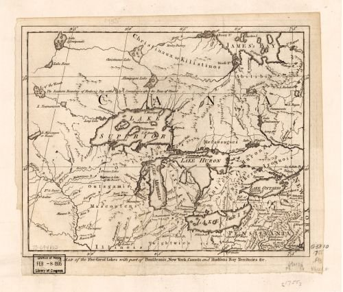 1755 Map A Map of the five Great Lakes with part of Pensilvania, New York, Canada, and Hudsons Bay T (Canada Googes)