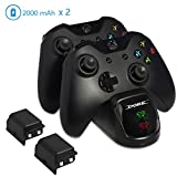Ericy Xbox One Controller Charger Station, 2×2000mAh Rechargeable Battery Pack Dual USB Charging Dock , Compatible with Xbox One(S) / Xbox One X / Xbox One Slim / Xbox One Elite, Provide Up to 40 Hour Review