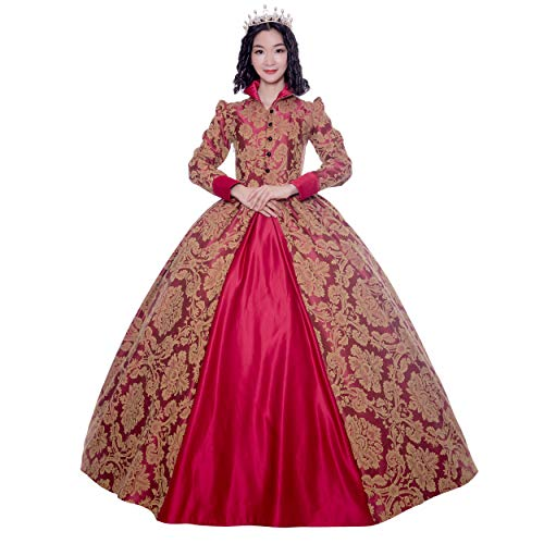 Renaissance Queen Elizabeth I/Tudor Gothic Jacquard Fantasy Dress Game of Thrones Gown Halloween Costumes (2XL, Red) ()