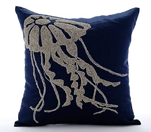 Navy Blue Throw Pillows Cover, Beaded Jelly Fish Sea Creatures Ocean and Beach Theme Pillows Cover, 16