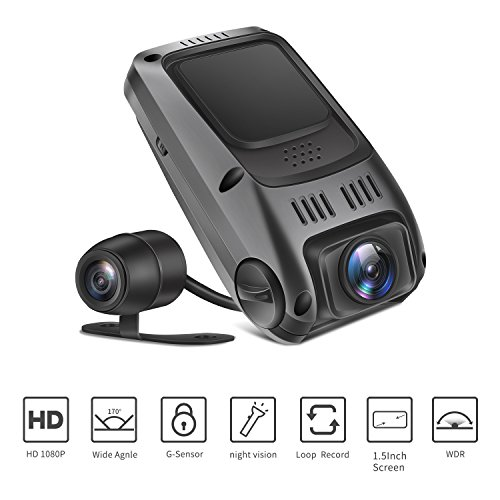 TryAce T7P Dual Dash Cam Full HD1080P 170 Degree Wide Angle Dashboard Camera Recorder with G-Sensor,WDR,Loop Recording,Super Night Vision Front and Rear Car Dash Camera