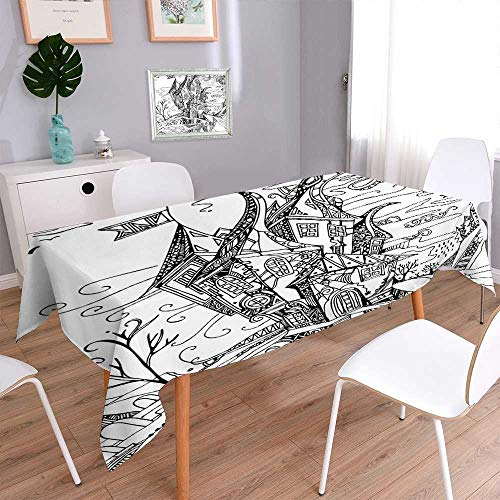 Tablecloth Waterproof Polyester Polyester Table Drawn Image of House Cartoon Like Witch Castle Halloween Themed Image Black and Tablecloth for Wedding/Party 70