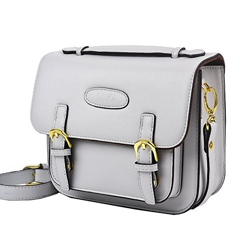 Mini Bag Vintage (SAIKA Retro Vintage PU Leather Shoulder Bag Case for Polaroid Fujifilm Instax Mini 9/Mini 8/Mini 26/Mini 90/Instant Film Camera/Fujifilm Instax Mini Instant Film and More - Smokey White)