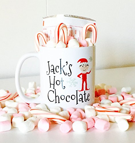 Personalized Hot Chocolate Mug with Cute Elf for Kids, Kids Hot Chocolate Mugs | Christmas Gifts for Kids (Personalized Hot Chocolate)