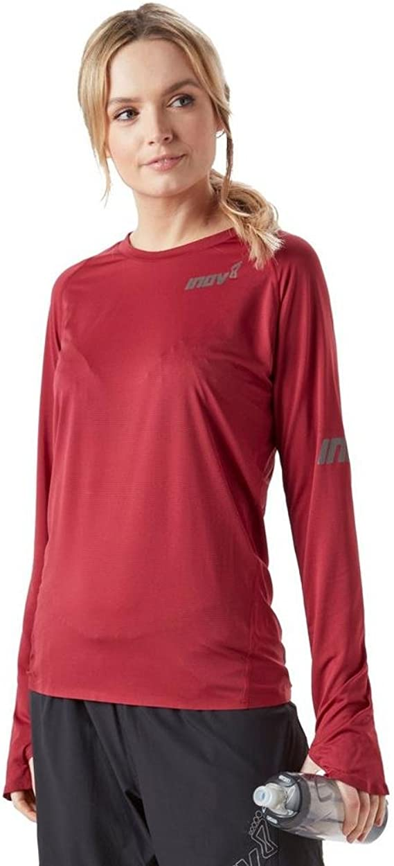 Inov8 Mens Base Elite Long Sleeved Top Red Sports Running Breathable Lightweight