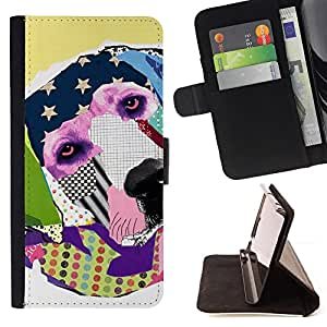 KingStore / Leather Etui en cuir / Samsung Galaxy S3 MINI 8190 / Labrador Retriever América Arte Moderno