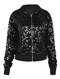 PrettyGuide Women's Sequin Jacket Glitter Long Sleeve Zipper up Sport Coat M/4-6 Black