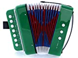 SKY Accordion Green Color 7 Button 2 Bass Kid Music Instrument Easy to Play