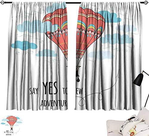 Lgckeg Novel Curtains Cartoon Inspirational Quote Say Yes to New Adventures Cute Hand Drawn Hot Air Balloon Durable W55 x L39 Coral Sky Blue