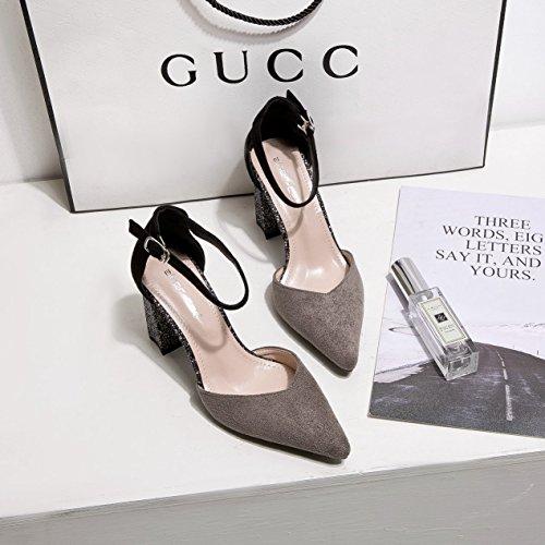 Shoes gris alto de y femeninos con del la Grueso zapatos zapatos mujer singles Heel de 36 punta la luz vwnqf