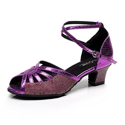 BYLE Sandalias de Cuero Tobillo Modern Jazz Samba Zapatos de Baile Zapatos de Baile Latino de Fondo Blando Púrpura Onecolor