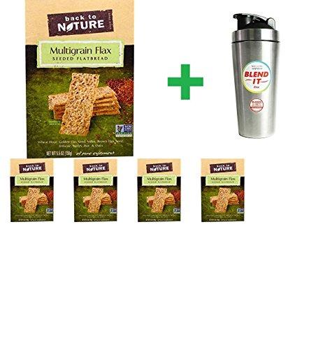 (Back To Nature Seeded Flatbread Crackers Multigrain Flax - 5.5 oz (5 pack) + New Wave Enviro Stainless Steel 25 oz Shaker Bottle w/Blender Cap - 1 Bottle)