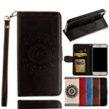 iPhone 8 Wallet Case,For iPhone 7 Wallet Case,Valentoria Mandragora Flower Premium Vintage Emboss Leather Wallet Pouch Case with Wrist Strap for iPhone 8/7 4.7inch(Black)