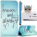 Apple iphone 4 4S Case,Colorful Painting Wallet Case,Vandot 3in1 Set Unique Elegant Painting Printing Pattern,PU Leather Magnetic Closure Flip Stand Protective Skin Cover Shell+Crystal Rhinestone Owl Anti Dust Plug+Screen Touch Stylus Pen-Blue Forever And Always Love Heart