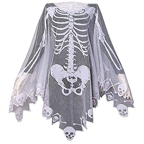 Halloween Costumes for Women Lace Skeleton Poncho Plus Size 57x57 inch ()
