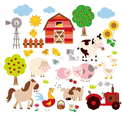 Farm Friends Baby/Nursery Peel & Stick Wall Art Sticker Decal - Farm Animal Wall