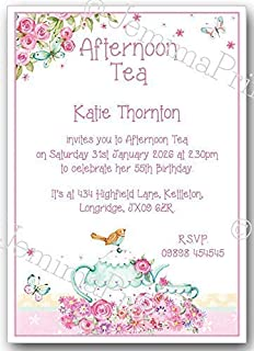 personalised afternoon tea birthday invitations with envelopes pack