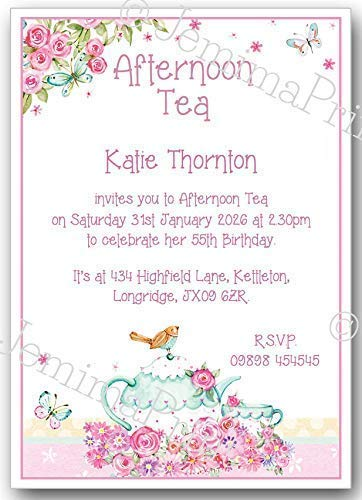 10 Personalised Afternoon Tea Birthday Party Invitations 18th 21st 30th 40th 50th 60th 65th 70th 80th