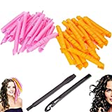 Bathmos 40pcs No Heat Hair Curler Magic Spiral Ringlets Former Leverage Stretched Length 50CM/19IN Circle Roller (pink & orange)