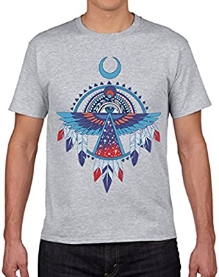 CAROYA 100/% Cotton Fashion Men//Women Casual T-Shirt Native American Thunderbird Pattern Printed Tops Tees Plus Size XS-3XL