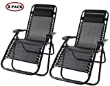 Merax Lounge Chair Zero Gravity Deck Chair Folding Reclining Patio Chair Set of 2(Black)