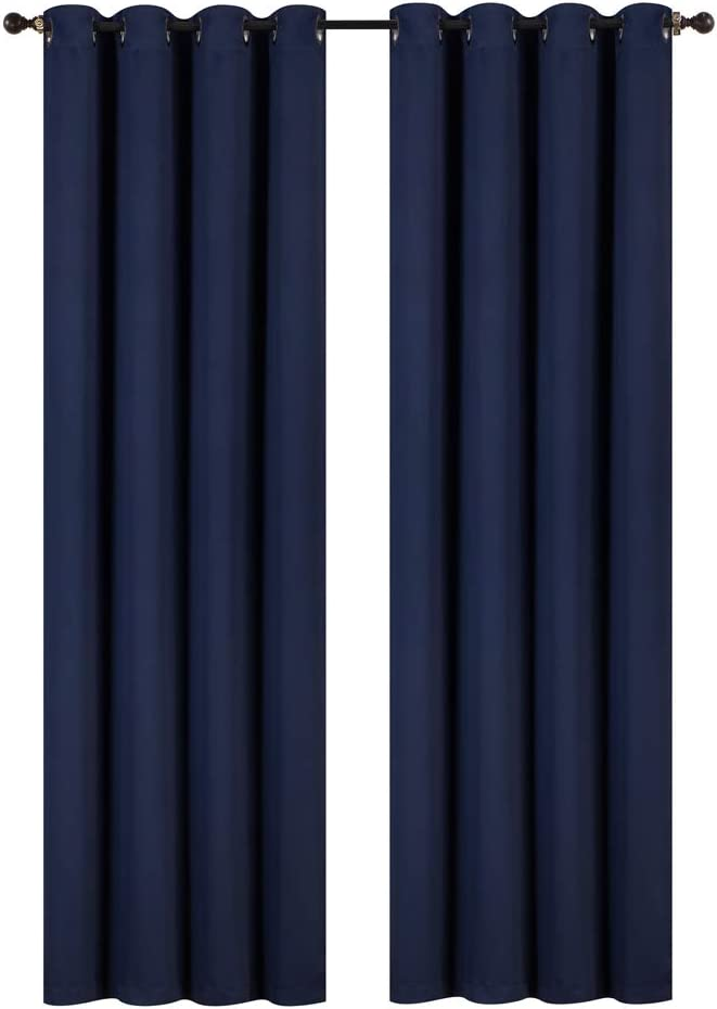 """Rama Rose Blackout Room Darkening Thermal Insulated Grommets Window Curtains for Bedroom Living Room,54"""" W x 90"""" L,1 Panel,(Navy Blue)"""