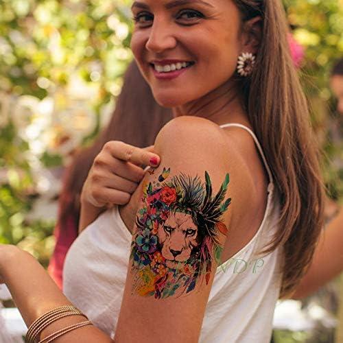 5pcs Impermeable engomada del Tatuaje del león Corona de la Reina ...