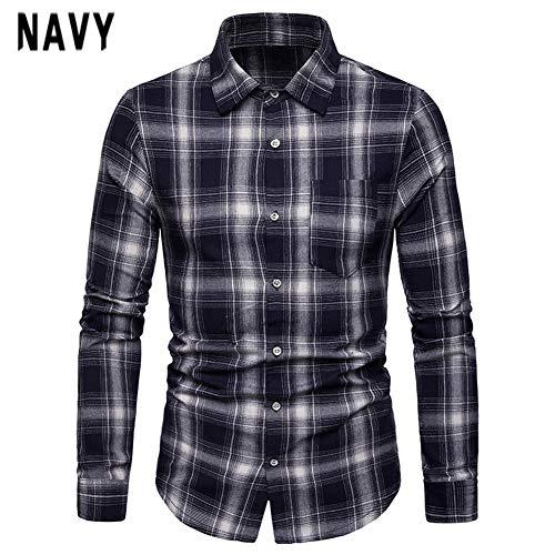 Edtara Camisa de Cuadro para los Hombres, Camisa de Manga Larga de Negocios con patrón de Rejilla de Solapa para Hombres