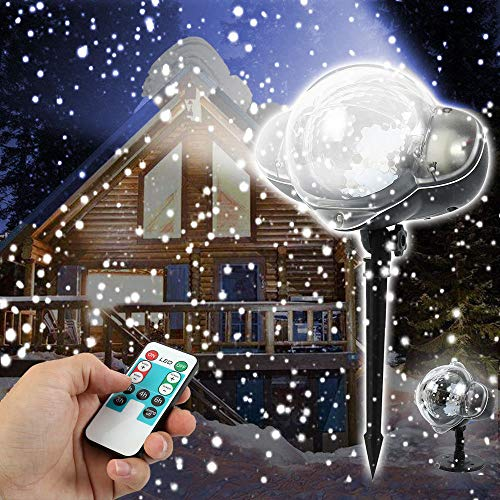 (Elite Choices Snowfall Projector LED Light with Remote, IP65 Waterproof Christmas Snowflake Rotating Landscape Decorative Lighting for)