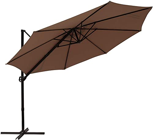 SUNSITT Patio Offset Cantilever 10 Feet Outdoor Patio Hanging Umbrella 360 Rotation with Cross Base, Beige