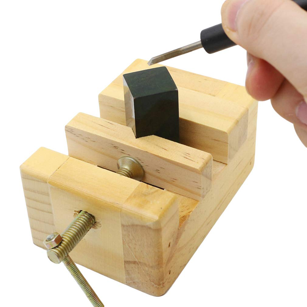 Firecolor Vises Mini Walnut Vise Flat Wooden Vise Clamp Table Bench Vice for Jewelry DIY Carving Tool,Size Large