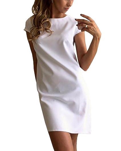 Mujeres Casual Elegante verano manga corta vestido de playa t-shirt vestido túnica Mini vestidos