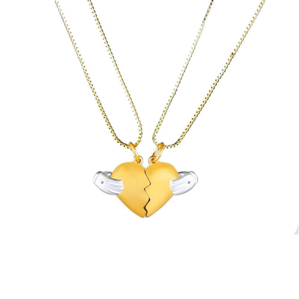MJartoria BFF Necklaces for 2 Split Heart Weirdo 1 Weirdo 2 Best Friends Forever Pendant Friendship Set (Magnetic-Gold)