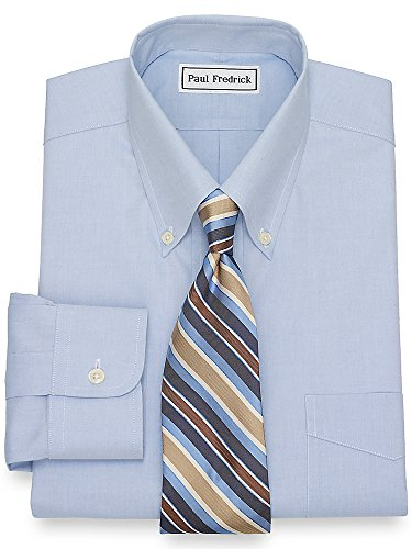 Paul Iron Fredrick Non (Paul Fredrick Men's Non-Iron 2-Ply Cotton Button Down Collar Dress Shirt Blue 17.5/34)