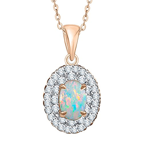 (KATARINA Diamond and Oval Cut Opal Double Halo Pendant Necklace in 10K Rose Gold (2/3 cttw, G-H,)