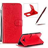 Strap Case for Samsung Galaxy A300 2015,Wallet Leather Cover for Samsung Galaxy A300 2015,Herzzer Classic Elegant [Red Butterfly Pattern] PU Leather Fold Stand Card Holders Smart Phone Case for Samsung Galaxy A300 2015 + 1 x Free Red Cellphone Kickstand + 1 x Free Claret-Red Stylus Pen