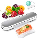 Vacuum Sealer Machine, ABOX V69 Portable Food Vacuum Air Sealing System for Food Saver Storage, Compact Design with Magnets and 10 Bags