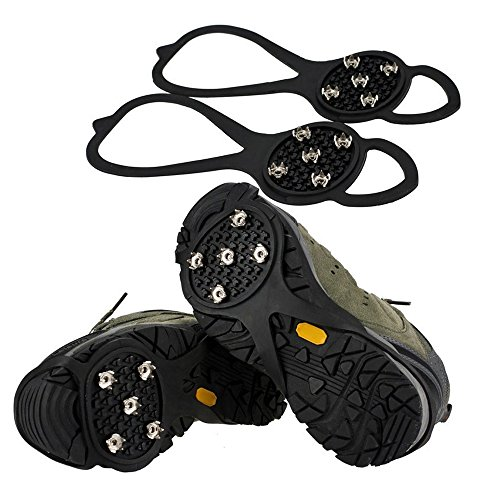 Snow Spikes Crampons Unisex Anti Slip Shoes Grippers Ice Snow Cleats Footwear Stainless Steel Spikes Durable Silicone Ice Cleat Spikes Crampons for Hiking On Ice Snow Ground Winter Walking