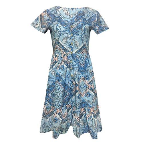 Kulywon Boho Dress Womens Casual High Waist Bohemia Print V Neck Button National Style Midi Dress Blue