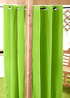 Lime Green Water Resistant Ready Made Outdoor Eyelet Curtain 55'x96' Gazebo Summer House