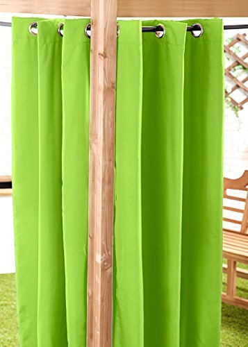 Lime Green Water Resistant Ready Made Outdoor Eyelet Curtain 55'x84' Gazebo Summer House