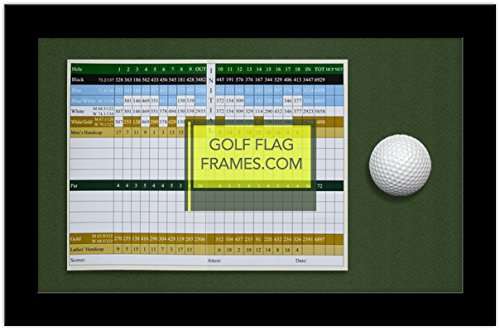 8x13 Golf Scorecard & Ball Frame; Black Wood Shadowbox Frame, Green Mat (holds up to approx. 6x8 card); card & ball not included -