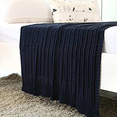 iSunShine® Cotton Knitted Cable Throw Soft Warm Cover Blanket Cable Knitting Pattern, 43*70 Inches, Navy
