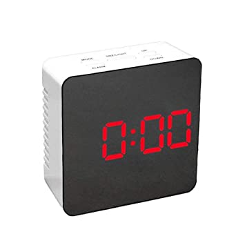 Vosarea Reloj Despertador de Mesa LED Digital con Reloj de Espejo y medición de Temperatura para la Oficina doméstica (Pantalla LED roja): Amazon.es: ...