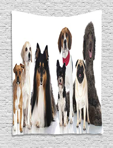 estry, Breed Dogs Pedigree Puppy Paws Cute Friends Photo, Wall Hanging for Bedroom Living Room Dorm, 40 W X 60 L Inches, Cocoa Pale Maroon Eggshell and Pale Redwood ()