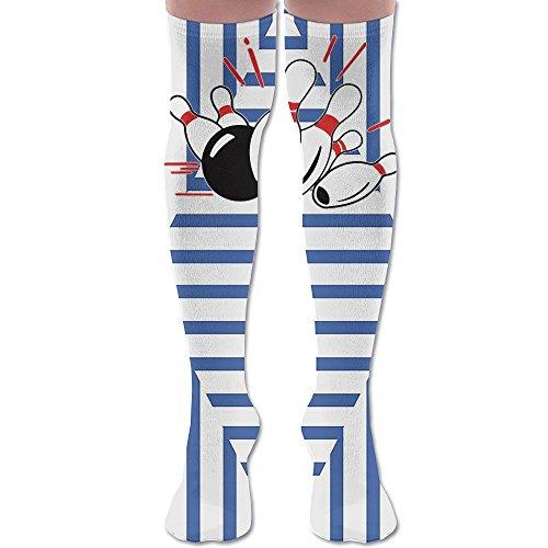 Blue Flame Ball And Pins Bowling Compression Socks Soccer Socks Knee High Sock Tall 25 5  For Running Medical Athletic Edema Diabetic Varicose Veins Travel Pregnancy Shin Splints Nursing