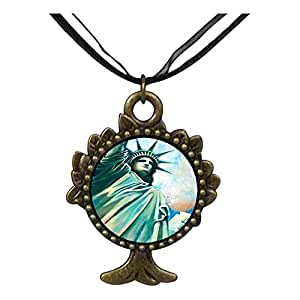 Chicforest Bronze Retro Style United States The Statue of Liberty The Tree Of Life And Wishing Pendant