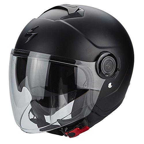 SCORPION Jethelm EXO-CITY SOLID schwarz-matt Sonnenblende Motorrad Helm Größe L 59/60