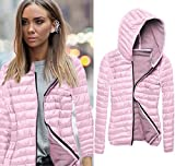 Clearance! Napoo Women Long Sleeve Solid Hooded Front Zipper Cotton Coat for Winter (L=(US M), Pink)