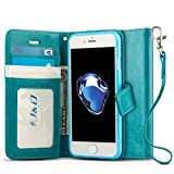 iPhone 7 Case, J&D [Wallet Stand] [Slim Fit] Heavy Duty Protective Shock Resistant Flip Cover Wallet Case for Apple iPhone 7 - Aqua